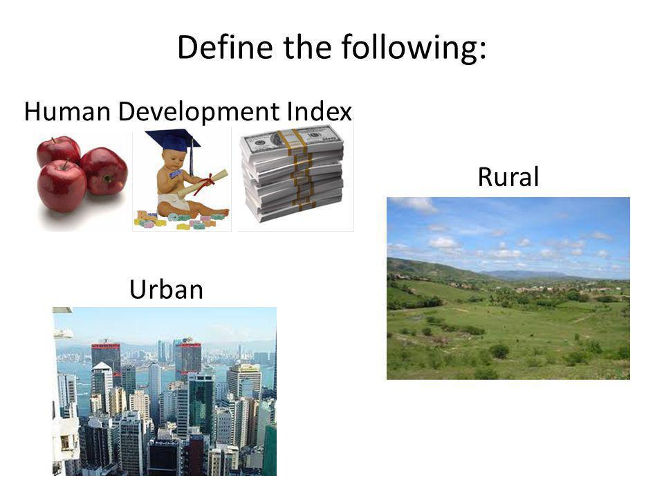 Define the following: Human Development Index Rural Urban