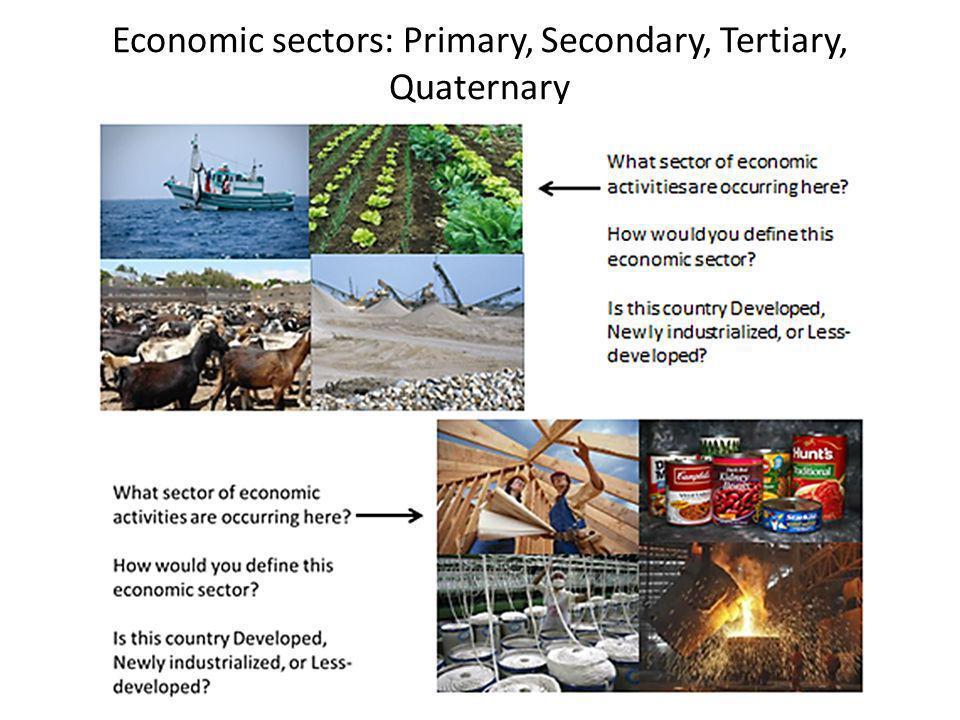 Economic sectors: Primary, Secondary, Tertiary, Quaternary
