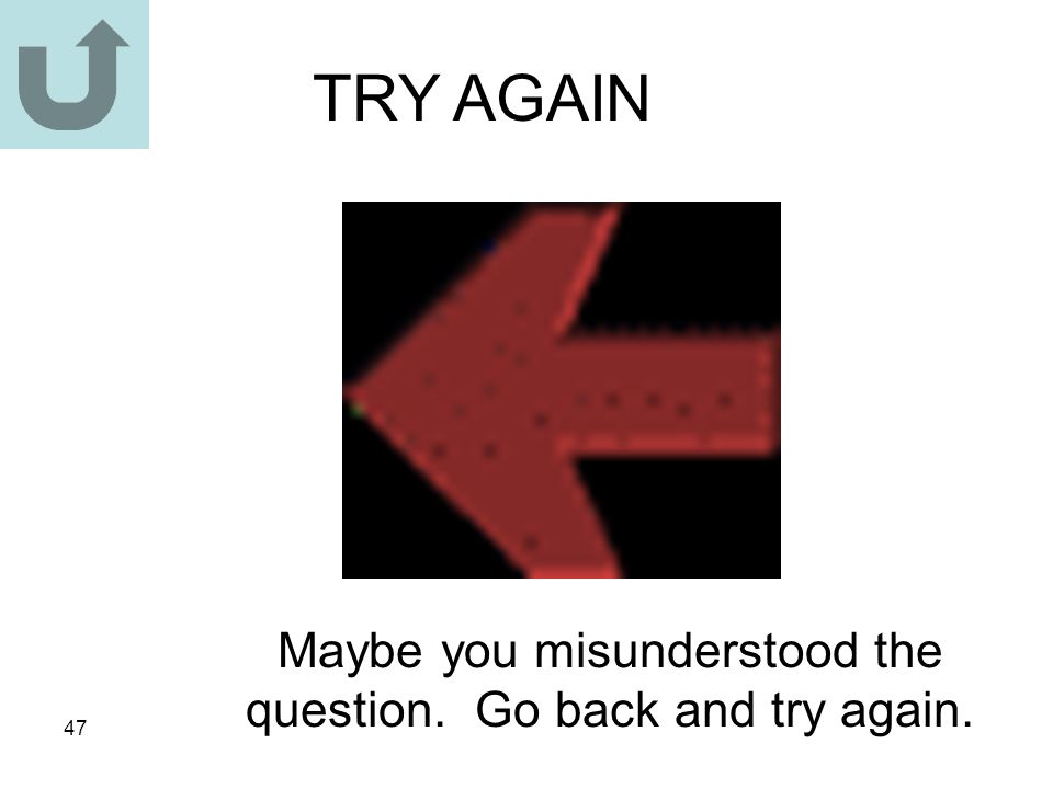 47 TRY AGAIN Maybe you misunderstood the question. Go back and try again.