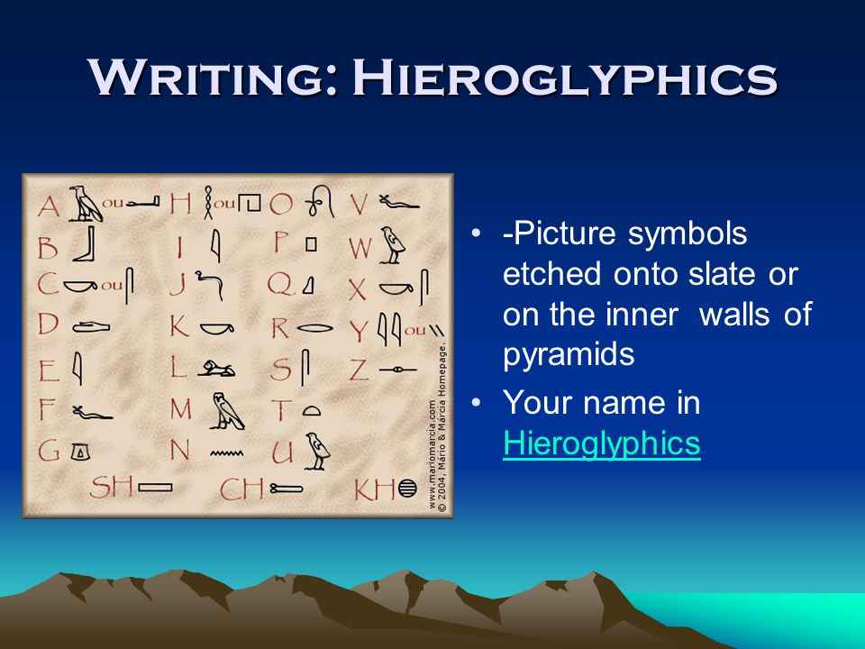 Writing: Hieroglyphics -Picture symbols etched onto slate or on the inner walls of pyramids Your name in Hieroglyphics Hieroglyphics