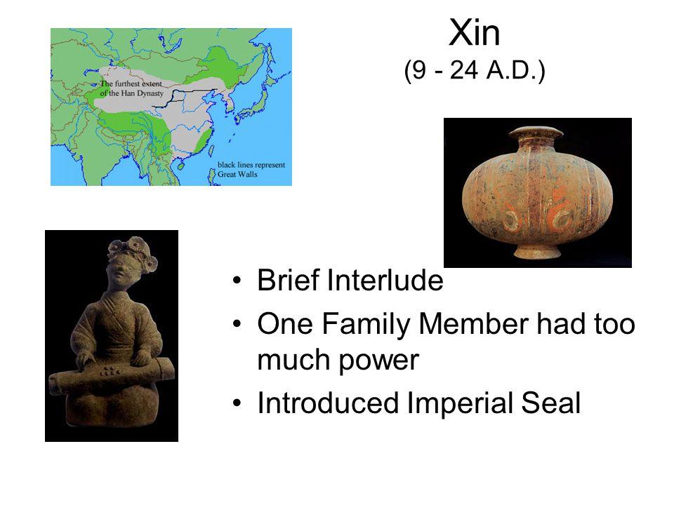 Three Kingdoms (220-280 A.D.) Western & Eastern Jin (265-315 A.D.) Southern & Northern (420-588 A.D.)