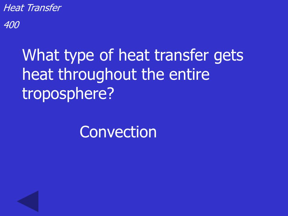 Heat Transfer 300 The transfer of heat by the movement of fluids like air or water is called: Convection