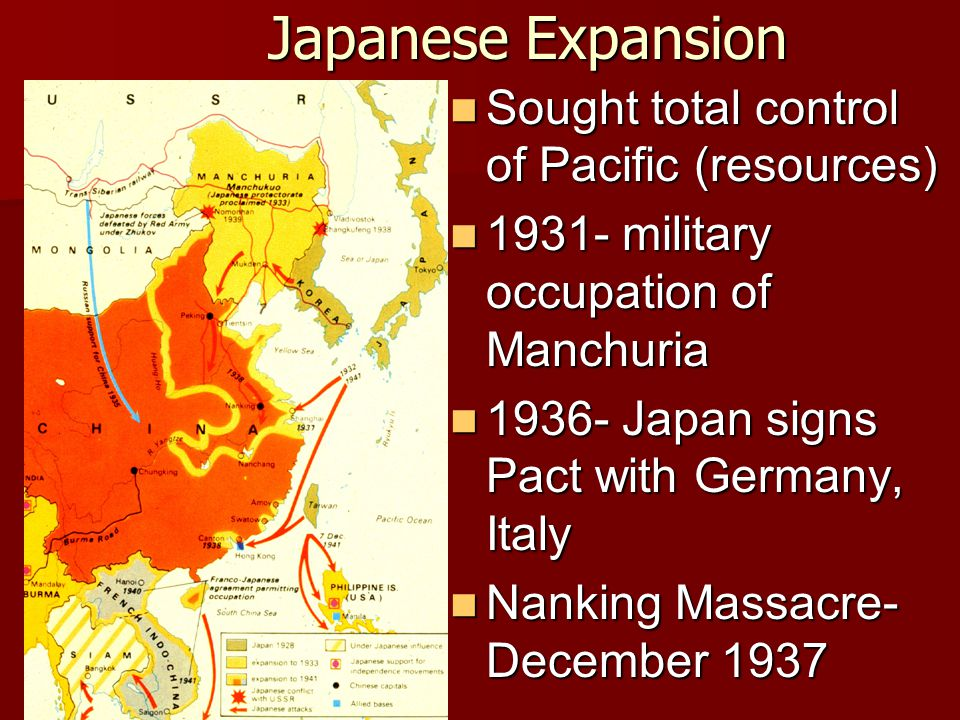 Japanese Expansion Sought total control of Pacific (resources) Sought total control of Pacific (resources) 1931- military occupation of Manchuria 1931- military occupation of Manchuria 1936- Japan signs Pact with Germany, Italy 1936- Japan signs Pact with Germany, Italy Nanking Massacre- December 1937 Nanking Massacre- December 1937