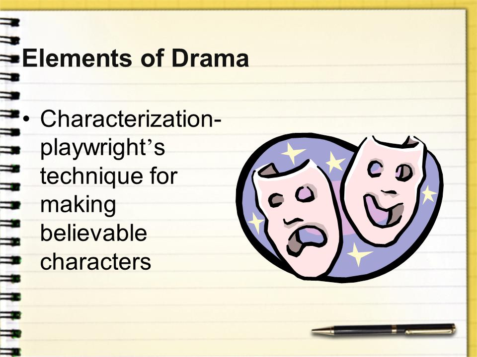 Elements of Drama Playwright-the author of a play Actors-the people who perform Acts-the units of action Scenes-parts of the acts