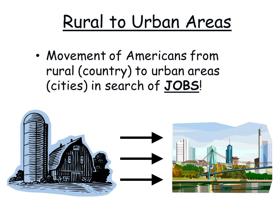 Rural to Urban Areas Movement of Americans from rural (country) to urban areas (cities) in search of JOBS!