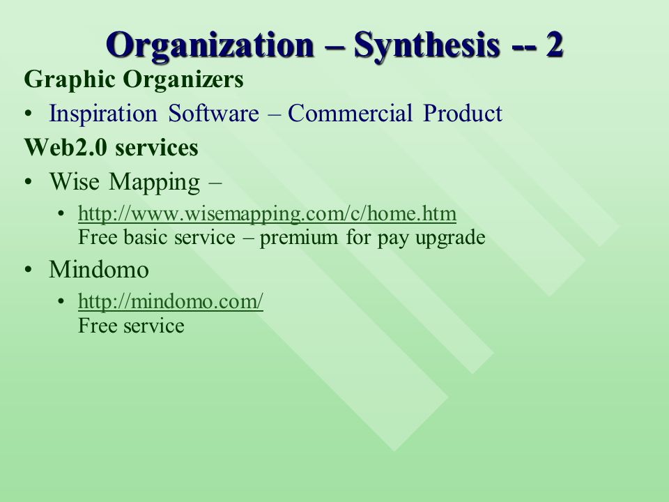 Organization – Synthesis -- 2 Graphic Organizers Inspiration Software – Commercial Product Web2.0 services Wise Mapping – http://www.wisemapping.com/c/home.htm Free basic service – premium for pay upgradehttp://www.wisemapping.com/c/home.htm Mindomo http://mindomo.com/ Free servicehttp://mindomo.com/
