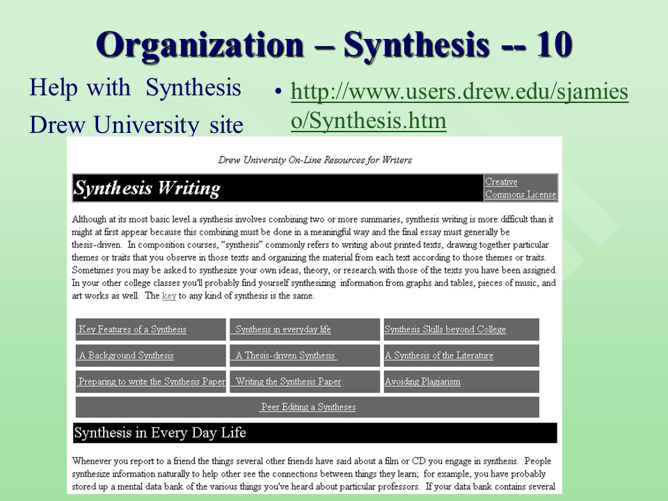 Organization – Synthesis -- 10 Help with Synthesis Drew University site http://www.users.drew.edu/sjamies o/Synthesis.htmhttp://www.users.drew.edu/sjamies o/Synthesis.htm