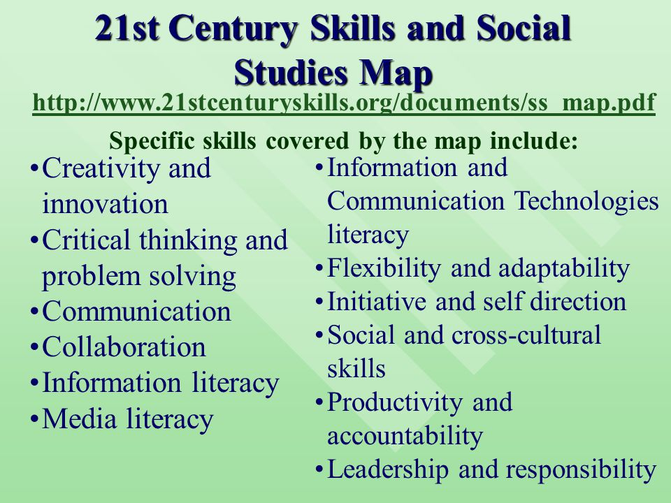 21st Century Skills and Social Studies Map http://www.21stcenturyskills.org/documents/ss_map.pdf Specific skills covered by the map include: Creativity and innovation Critical thinking and problem solving Communication Collaboration Information literacy Media literacy Information and Communication Technologies literacy Flexibility and adaptability Initiative and self direction Social and cross-cultural skills Productivity and accountability Leadership and responsibility