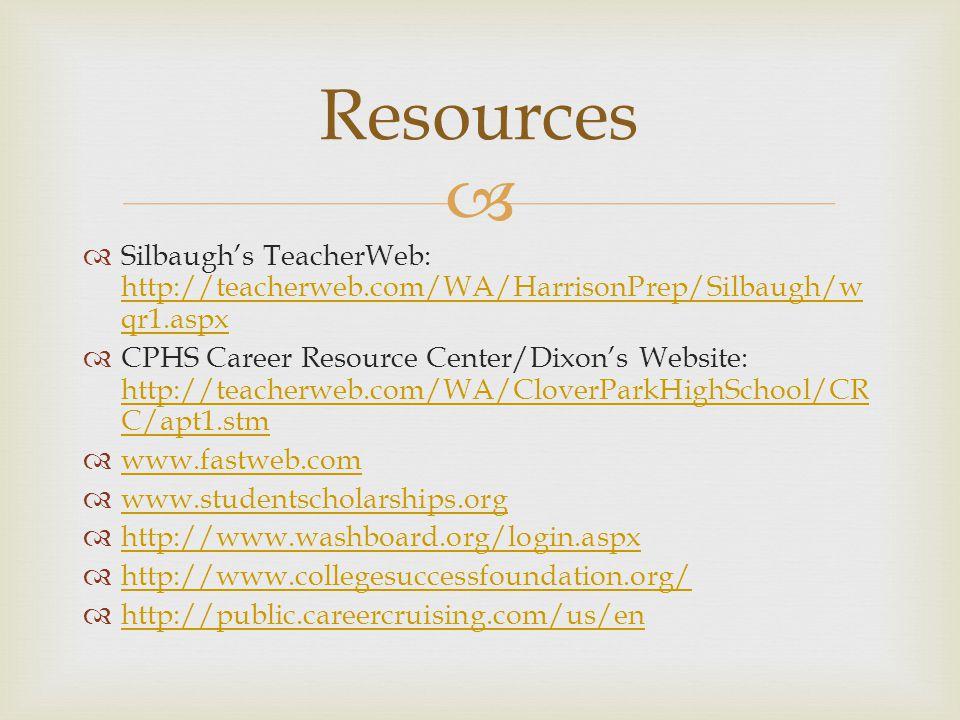   Silbaugh's TeacherWeb: http://teacherweb.com/WA/HarrisonPrep/Silbaugh/w qr1.aspx http://teacherweb.com/WA/HarrisonPrep/Silbaugh/w qr1.aspx  CPHS Career Resource Center/Dixon's Website: http://teacherweb.com/WA/CloverParkHighSchool/CR C/apt1.stm http://teacherweb.com/WA/CloverParkHighSchool/CR C/apt1.stm  www.fastweb.com www.fastweb.com  www.studentscholarships.org www.studentscholarships.org  http://www.washboard.org/login.aspx http://www.washboard.org/login.aspx  http://www.collegesuccessfoundation.org/ http://www.collegesuccessfoundation.org/  http://public.careercruising.com/us/en http://public.careercruising.com/us/en Resources