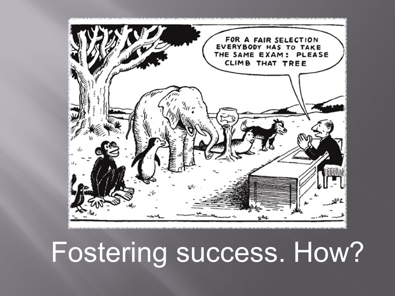 For Success ALL kids need: To be challenged To be bored (Blue Sky times…) To be unique (appreciated) To fit in (belong) To feel secure (predictability) To dare to be bold (take the challenge) Extrinsic motivation (recognition) Intrinsic motivation (personal drive)