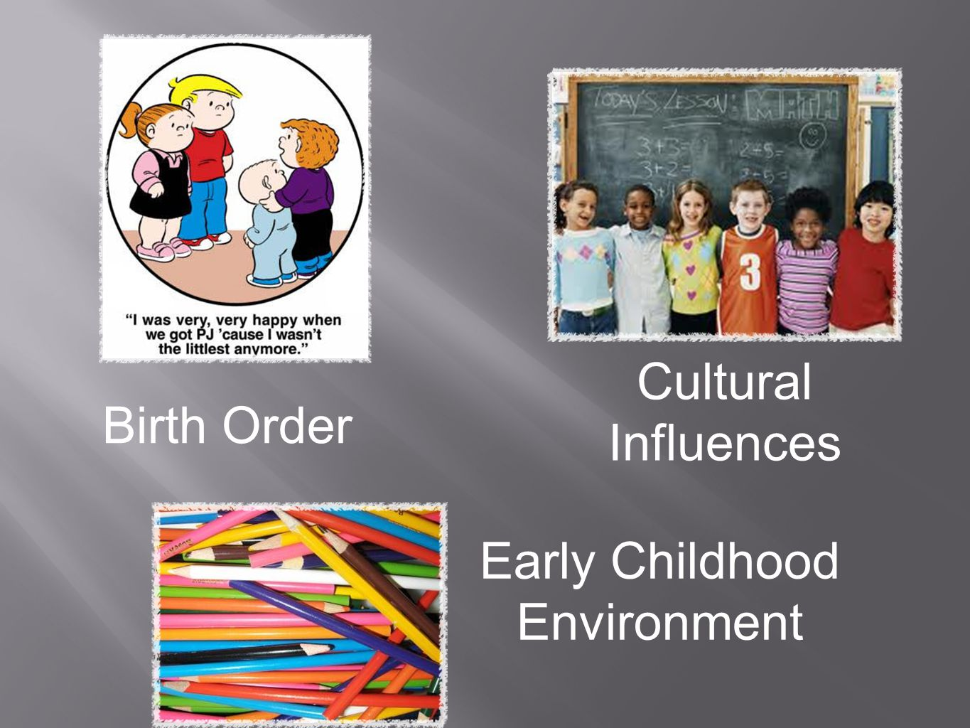They Come to School Varying in: Experience Enrichment Exposure Education opportunities Expectations