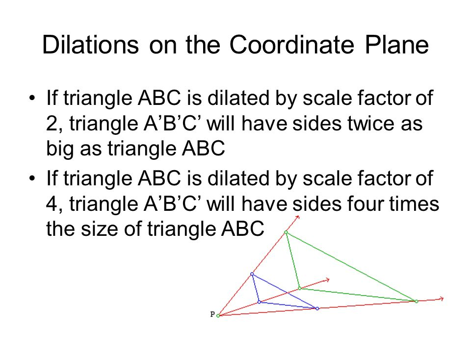 Dilations on the Coordinate Plane If triangle ABC is dilated by scale factor of 2, triangle A'B'C' will have sides twice as big as triangle ABC If tri