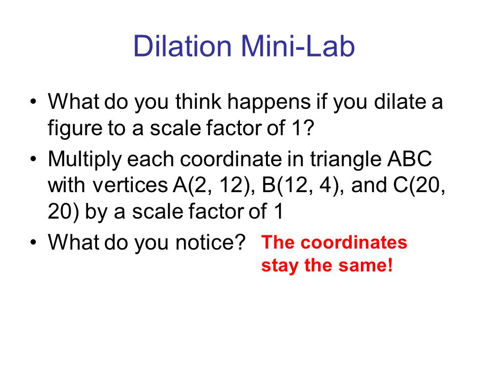 Dilation Mini-Lab What do you think happens if you dilate a figure to a scale factor of 1? Multiply each coordinate in triangle ABC with vertices A(2,