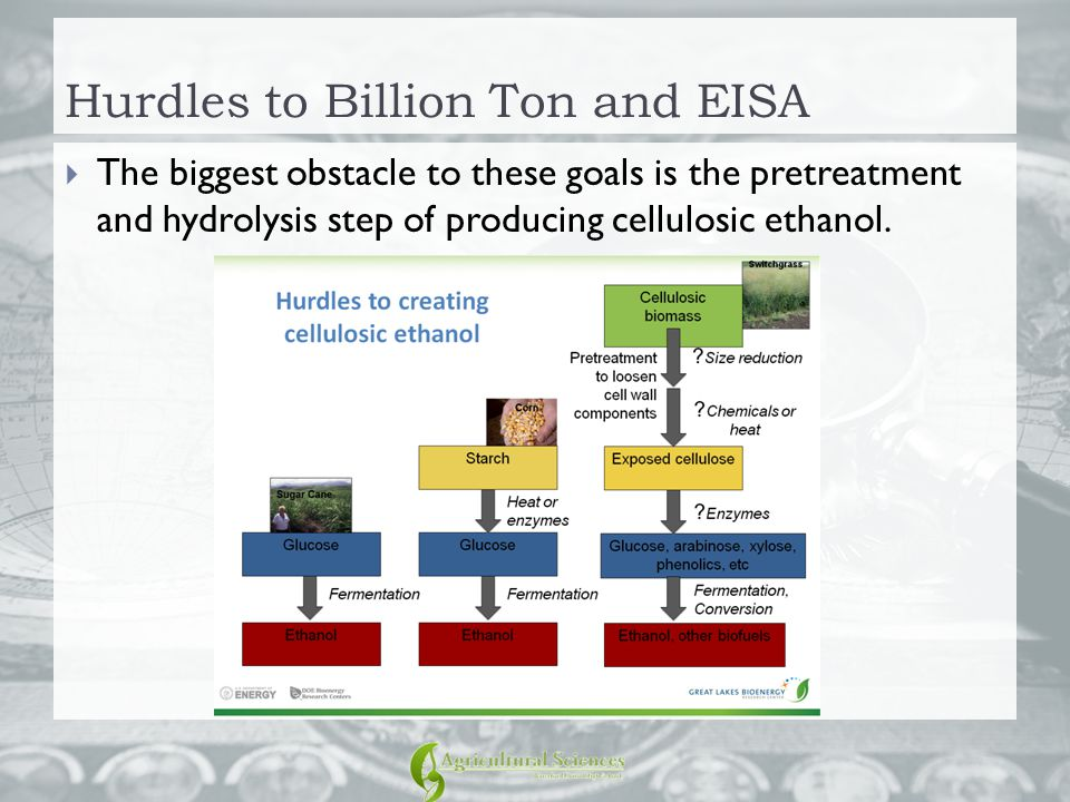 Hurdles to Billion Ton and EISA  The biggest obstacle to these goals is the pretreatment and hydrolysis step of producing cellulosic ethanol.