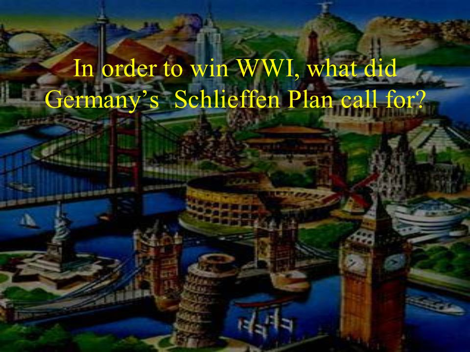 In order to win WWI, what did Germany's Schlieffen Plan call for