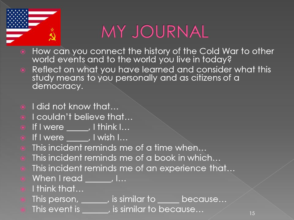  How can you connect the history of the Cold War to other world events and to the world you live in today?  Reflect on what you have learned and con