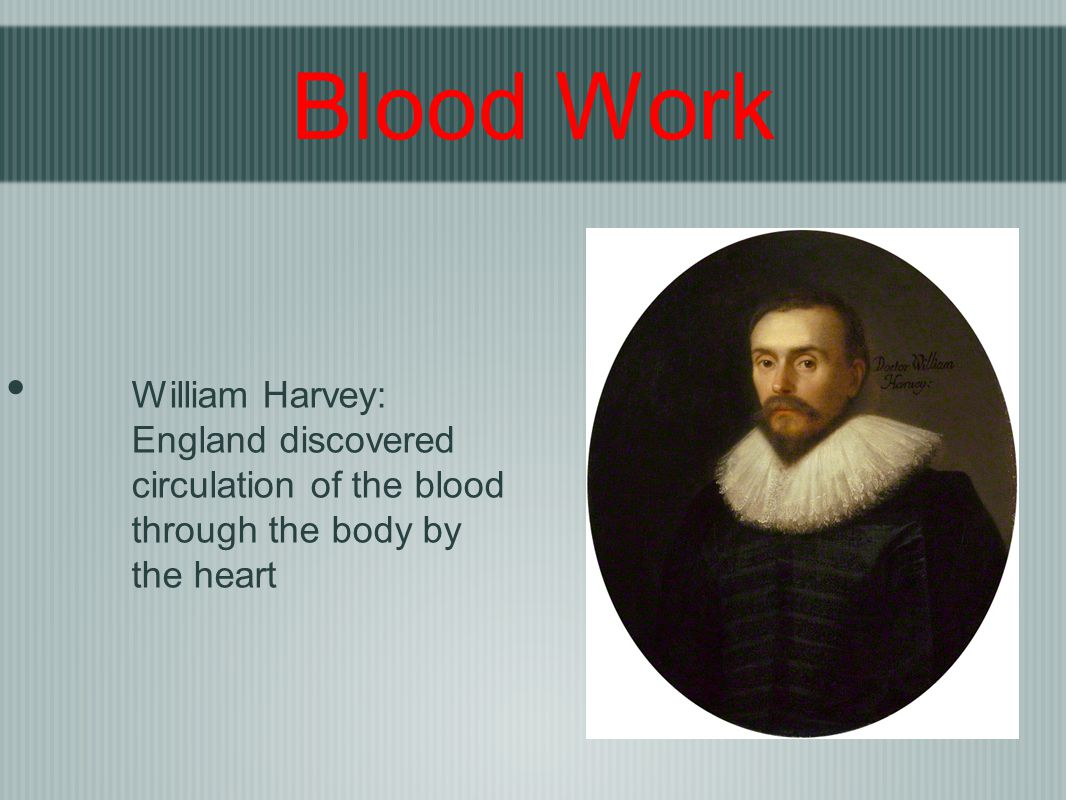 Blood Work William Harvey: England discovered circulation of the blood through the body by the heart