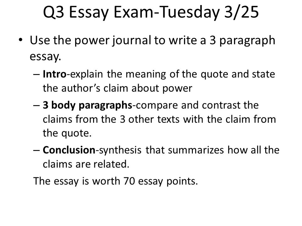 Q3 Essay Exam-Tuesday 3/25 Use the power journal to write a 3 paragraph essay. – Intro-explain the meaning of the quote and state the author's claim a