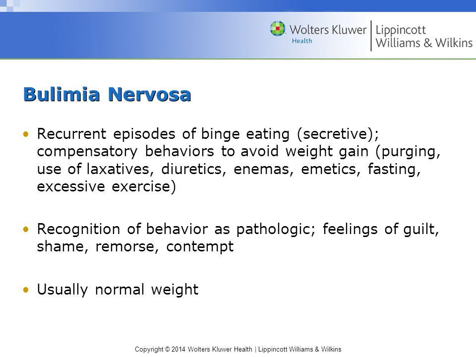 Copyright © 2014 Wolters Kluwer Health | Lippincott Williams & Wilkins Bulimia Nervosa Recurrent episodes of binge eating (secretive); compensatory be