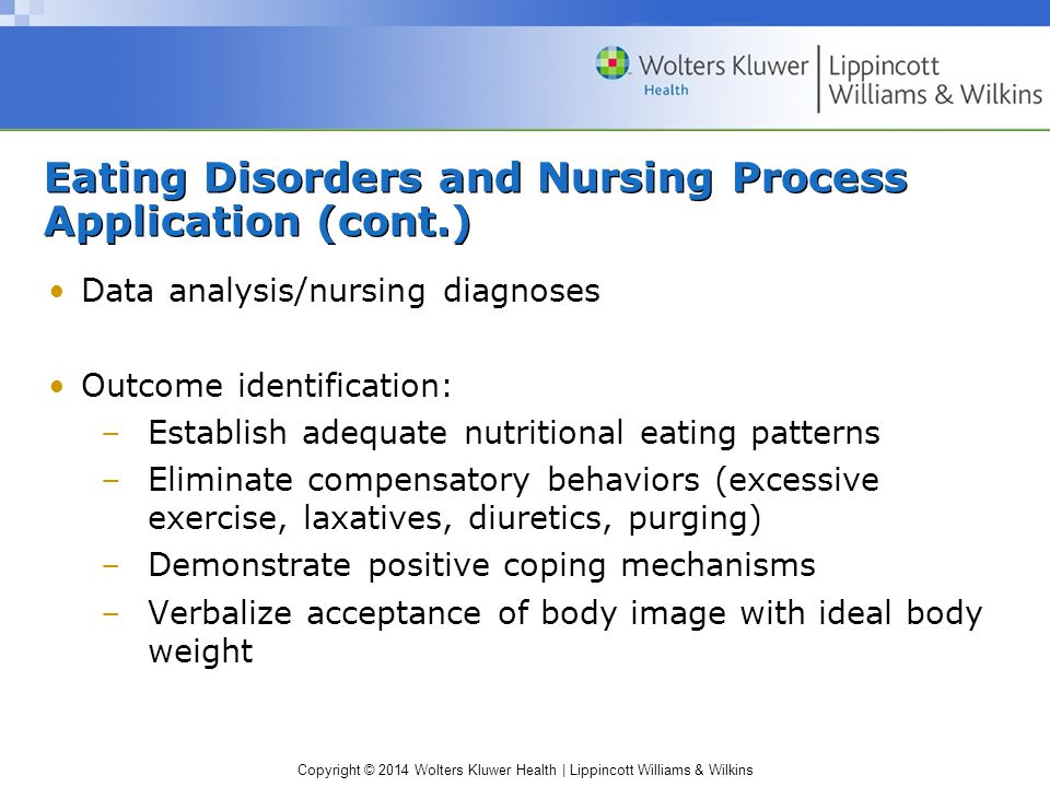 Copyright © 2014 Wolters Kluwer Health | Lippincott Williams & Wilkins Eating Disorders and Nursing Process Application (cont.) Data analysis/nursing diagnoses Outcome identification: –Establish adequate nutritional eating patterns –Eliminate compensatory behaviors (excessive exercise, laxatives, diuretics, purging) –Demonstrate positive coping mechanisms –Verbalize acceptance of body image with ideal body weight