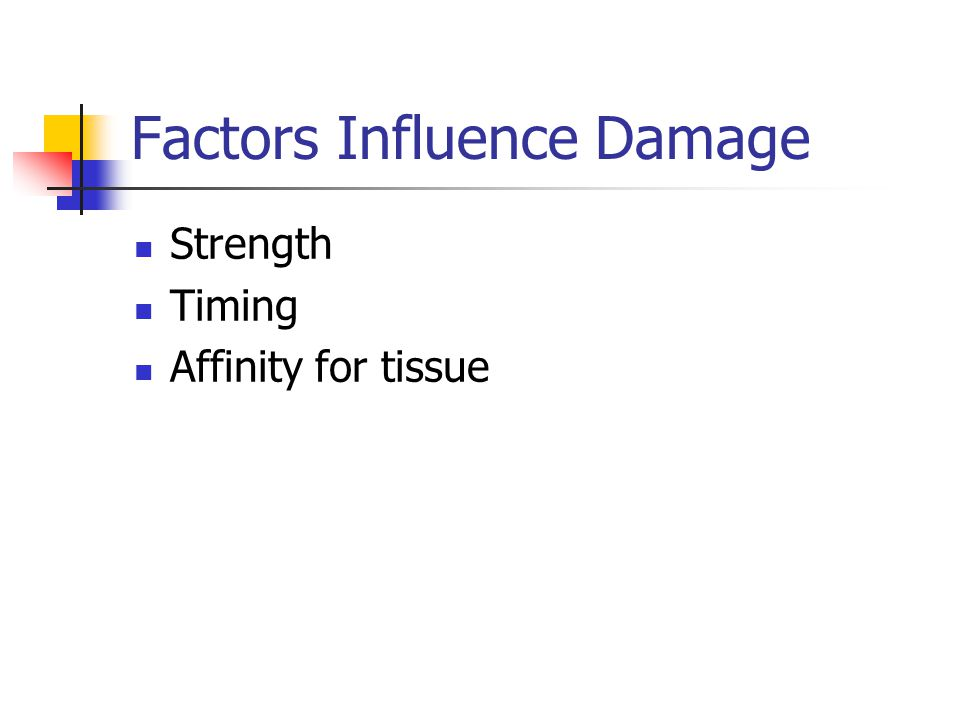 Factors Influence Damage Strength Timing Affinity for tissue