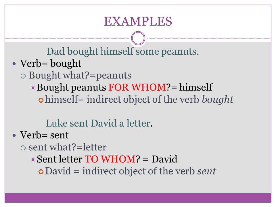 EXAMPLES Dad bought himself some peanuts. Verb= bought  Bought what?=peanuts  Bought peanuts FOR WHOM?= himself himself= indirect object of the verb