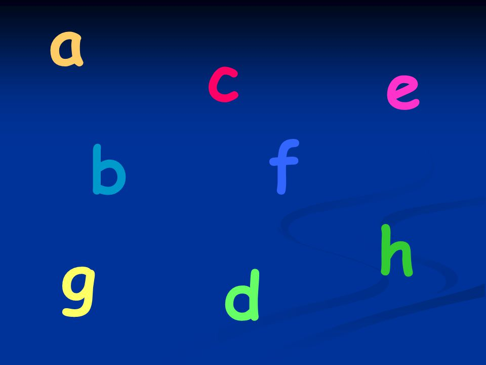 Which letter is it? a c b d f e hg