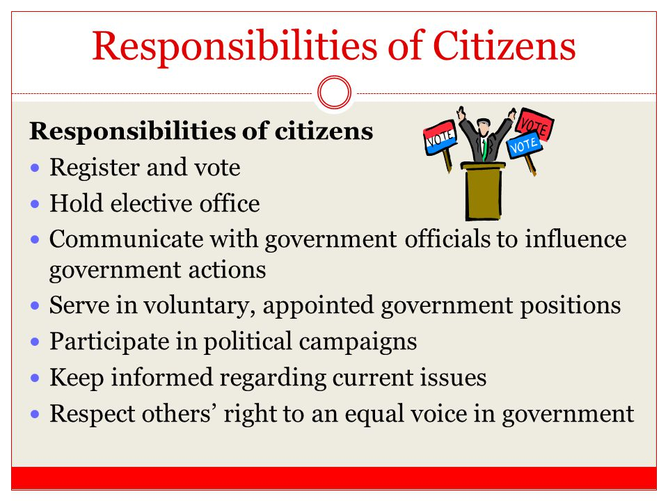 Responsibilities of Citizens Responsibilities of citizens Register and vote Hold elective office Communicate with government officials to influence go