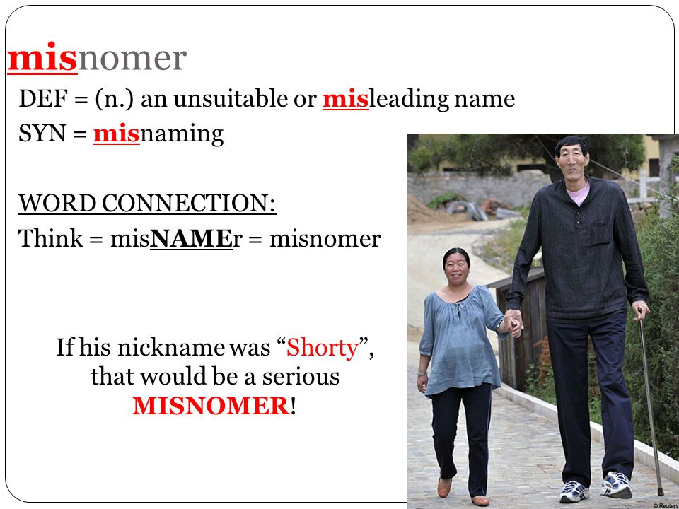 "misnomer DEF = (n.) an unsuitable or misleading name SYN = misnaming WORD CONNECTION: Think = misNAMEr = misnomer If his nickname was ""Shorty"", that w"
