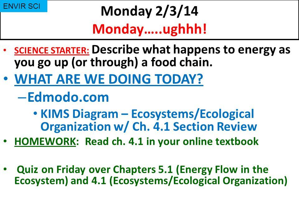 Monday 2/3/14 Monday…..ughhh.