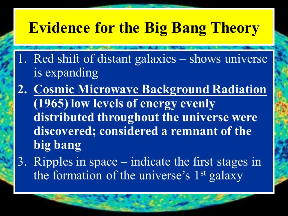 Cosmic Microwave Background Radiation (CMBR) It formed shortly after the big bang Now, the energy of the background radiation is 3 ⁰C above absolute zero (-273.15 ⁰C ), which is the coldest temp possible (Background of this slide show is a picture of CMBR)