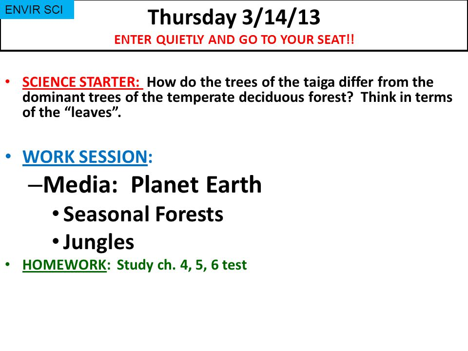 Wednesday 2/13/13 Turn in your Kingdoms Tree Map if finished (due Tue 2/19) SCIENCE STARTER: none WORK SESSION: – RTI – Chapter 4 Section Reviews & Chapter Reviews HOMEWORK: Read ch.