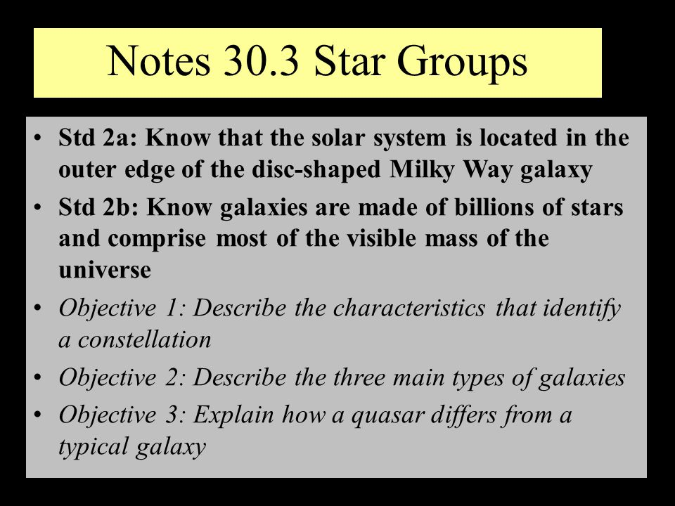 Notes 30.3 Star Groups Std 2a: Know that the solar system is located in the outer edge of the disc-shaped Milky Way galaxy Std 2b: Know galaxies are m