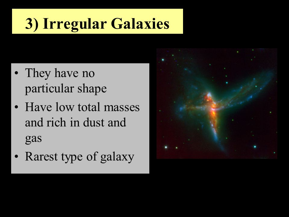 Objective 2: Describe the three main types of galaxies What is a large-scale group of stars, gas, and dust that is bound together by gravity.
