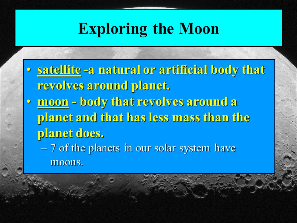 The Lunar Surface Mare - a large, dark area of basalt on the moonMare - a large, dark area of basalt on the moon Any feature of the moon is referred to as lunar.Any feature of the moon is referred to as lunar.