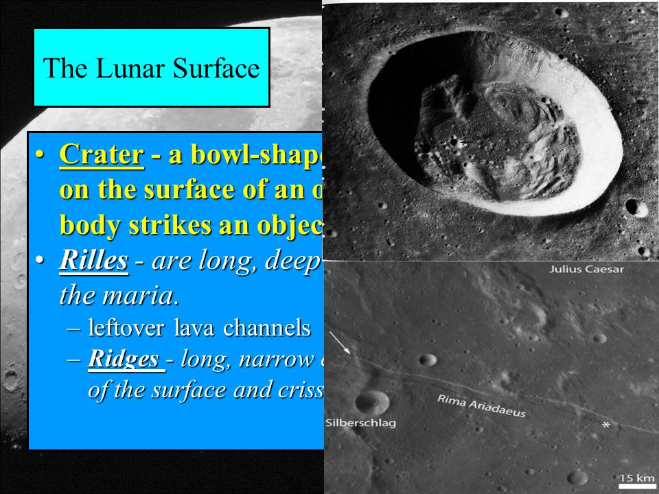 The Lunar Surface Crater - a bowl-shaped depression that forms on the surface of an object when a falling body strikes an objectCrater - a bowl-shaped depression that forms on the surface of an object when a falling body strikes an object Rilles - are long, deep channels that run through the maria.Rilles - are long, deep channels that run through the maria.