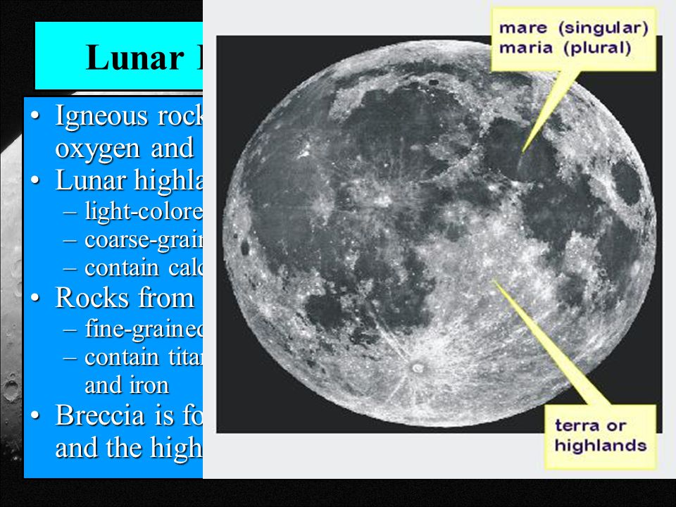 Lunar Rocks Igneous rock composed of oxygen and siliconIgneous rock composed of oxygen and silicon Lunar highlands rocksLunar highlands rocks –light-colored –coarse-grained anorthosites –contain calcium and aluminum.