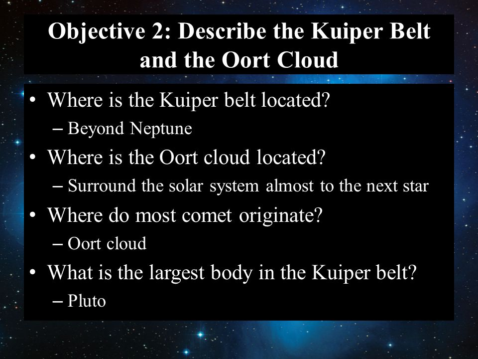 Objective 2: Describe the Kuiper Belt and the Oort Cloud Where is the Kuiper belt located.
