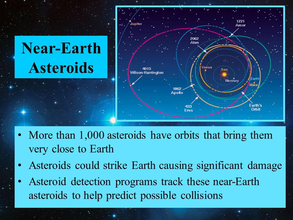 Near-Earth Asteroids More than 1,000 asteroids have orbits that bring them very close to Earth Asteroids could strike Earth causing significant damage Asteroid detection programs track these near-Earth asteroids to help predict possible collisions