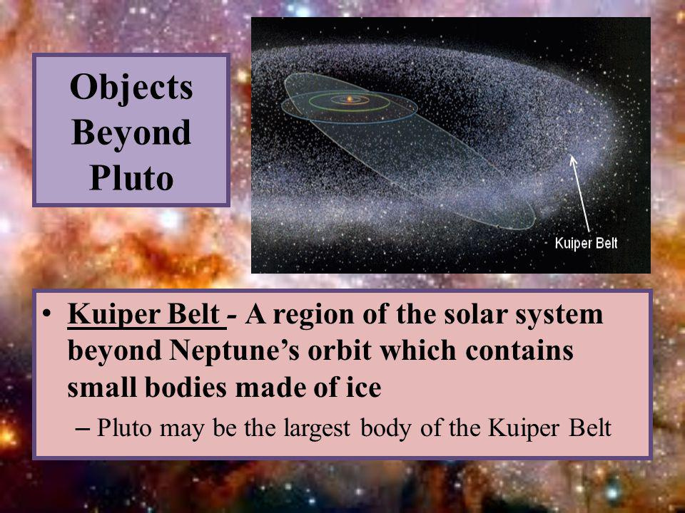 Objects Beyond Pluto Kuiper Belt - A region of the solar system beyond Neptune's orbit which contains small bodies made of ice – Pluto may be the largest body of the Kuiper Belt