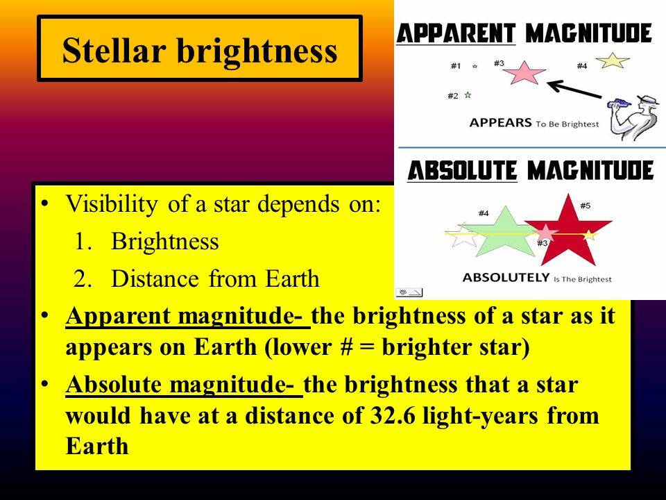 Stellar brightness Visibility of a star depends on: 1.Brightness 2.Distance from Earth Apparent magnitude- the brightness of a star as it appears on E