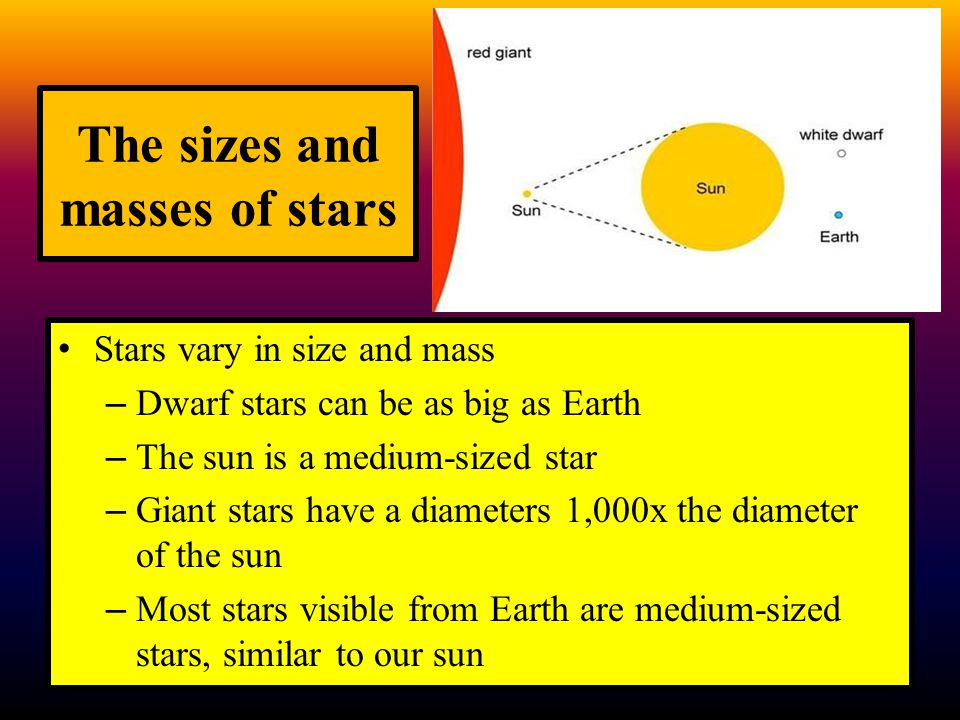 The sizes and masses of stars Stars vary in size and mass – Dwarf stars can be as big as Earth – The sun is a medium-sized star – Giant stars have a d