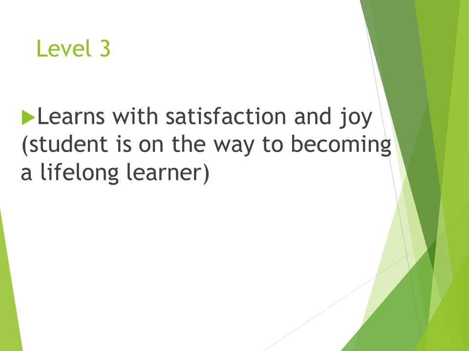 Level 3  Learns with satisfaction and joy (student is on the way to becoming a lifelong learner)