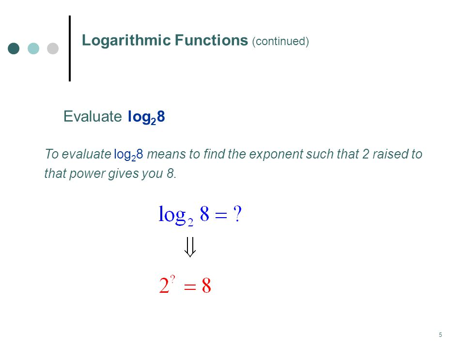 6 Logarithmic Functions (continued) The following definition demonstrates this connection between the exponential and the logarithmic function.