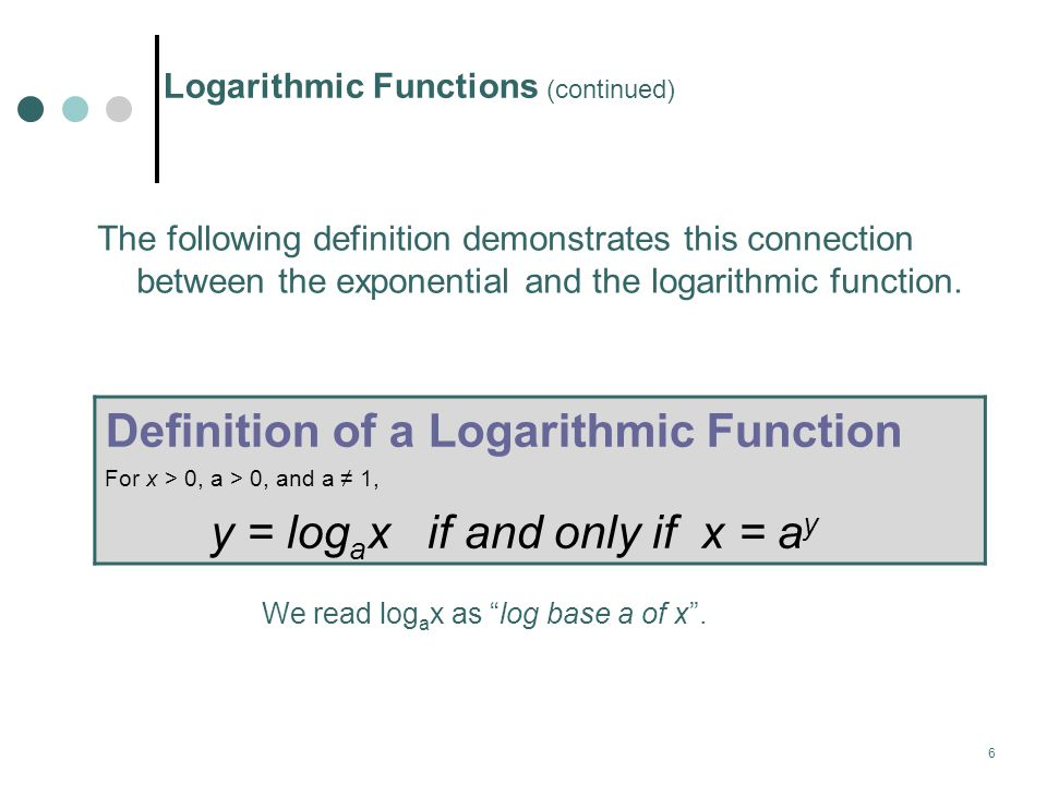 7 Converting Between Exponential and Logarithmic Forms I.