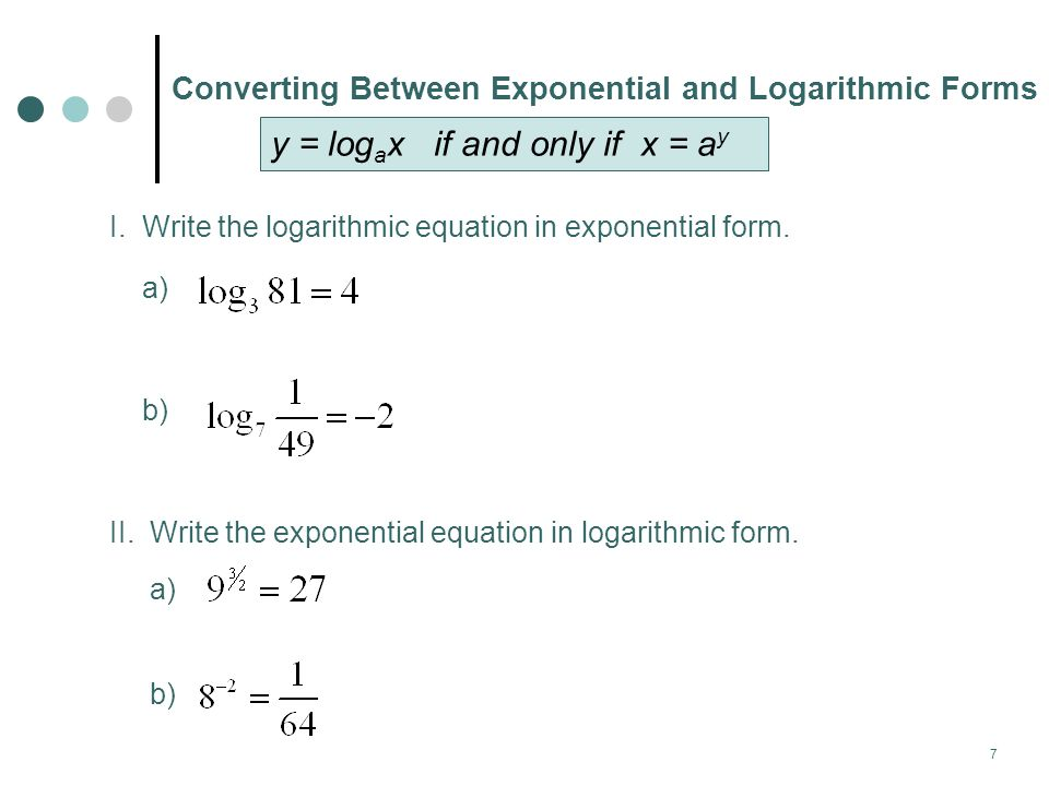 8 Evaluating Logarithms w/o a Calculator To evaluate logarithmic expressions by hand, we can use the related exponential expression.