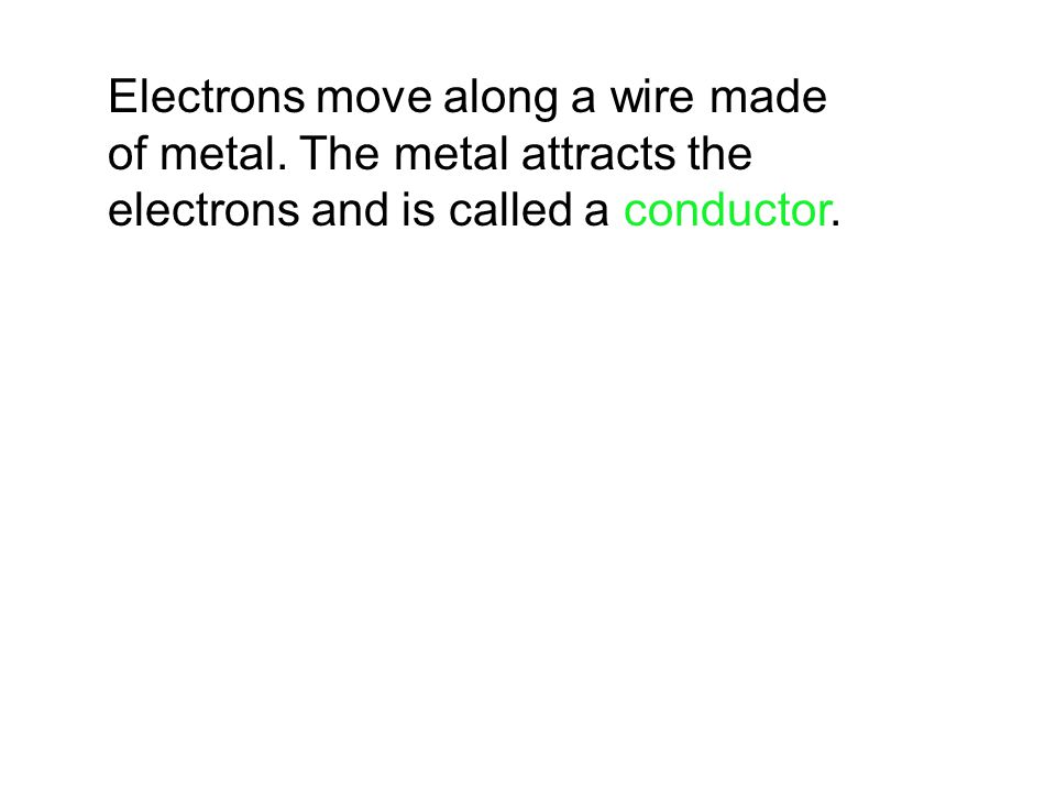 Electrons move along a wire made of metal. The metal attracts the electrons and is called a conductor.