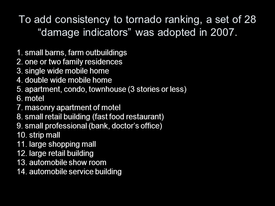 To add consistency to tornado ranking, a set of 28 damage indicators was adopted in 2007.