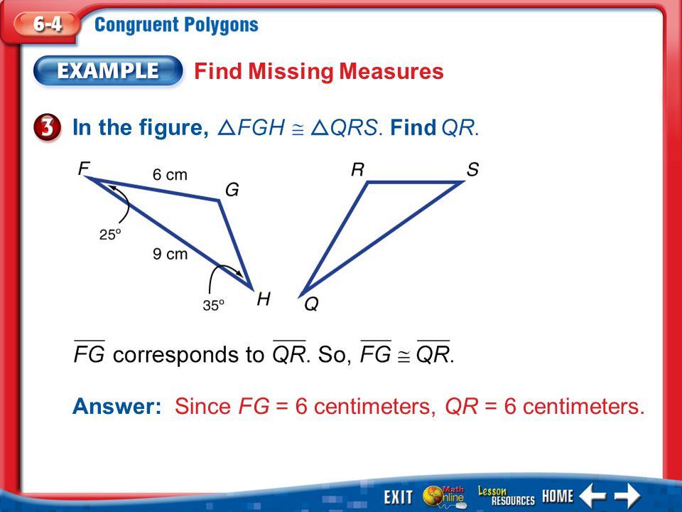 1.A 2.B 3.C 4.D Example 3 A.3 in.B.4 in. C.5 in.D.6 in. In the figures,