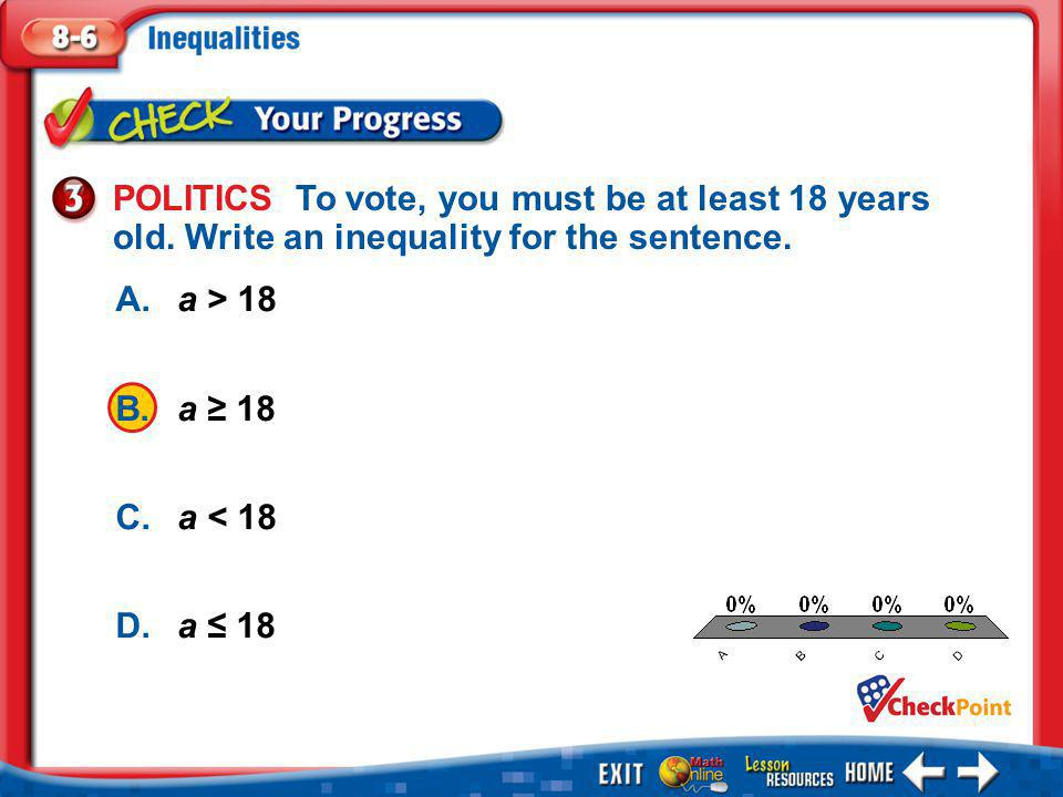1.A 2.B 3.C 4.D Example 3 A.a > 18 B.a ≥ 18 C.a < 18 D.a ≤ 18 POLITICS To vote, you must be at least 18 years old.